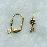 Lever Back Flower Earring Finding Oxidized Brass (24)