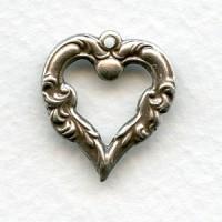 Fancy Heart Pendant Oxidized Silver 18mm (12)