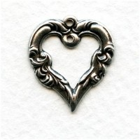 ^Fancy Heart Pendant with Hole Oxidized Silver 18mm (12)