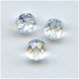 Crystal AB Round Faceted Beads 8mm