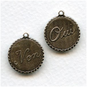 Oui and Non Pendant French Charms Oxidized Silver (3)