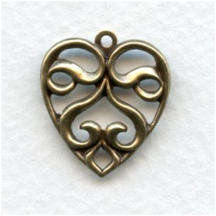 Heart Shaped Pendants Oxidized Brass 21mm (6)