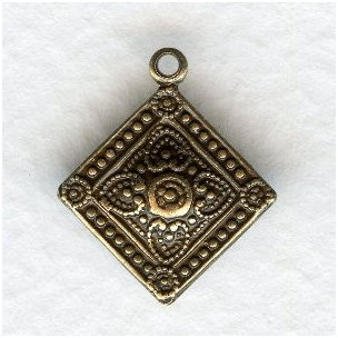 Ornate Squares with a Loop Oxidized Brass 18mm (6)