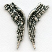 Large Wings Oxidized Silver 58mm (1 set)