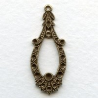 Exceptional Pendant with Rhinestone Settings Oxidized Brass