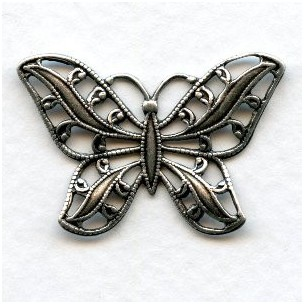 Filigree Butterflies 30mm Oxidized Silver (3)