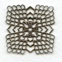 Elegant Flat Filigrees 38mm Oxidized Silver (3)