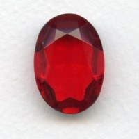 Ruby Glass Oval Unfoiled Jewelry Stone 25x18mm