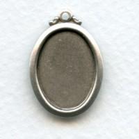 Elegant Simple Setting Pendants 18x13mm Oxidized Silver