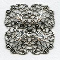 ^Ornate Large Filigree Oxidized Silver 59mm (1)