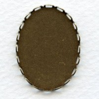 Lace Edge Settings 30x22mm Oxidized Brass (6)