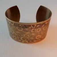 Floral Pattern 37mm Wide Cuff Oxidized Brass