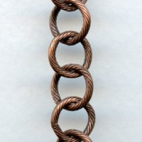 Large 10mm Link Textured Chain Oxidized Copper (3 ft)