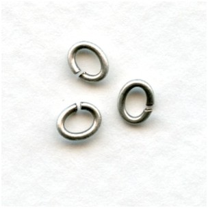 Small Oval Jump Rings 19G Oxidized Silver 5x4mm (100+)