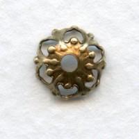 Favorite Filigree Bead Caps 9mm Oxidized Brass (24)