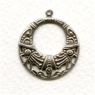 Egyptian Influence Hoops Oxidized Silver 29mm (6)
