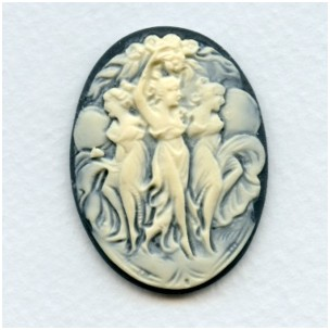 ^Three Muses Cameo Ivory on Black 40x30mm (1)