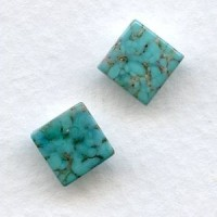 ^Turquoise Matrix Glass Tiles Square Buff-Top 8mm