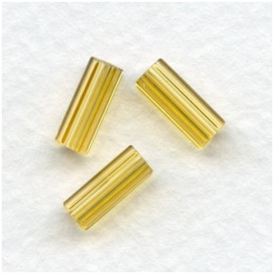 Topaz Czech Glass Hex Tube Beads 10x4mm