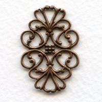 Filigree Flat Oval Connector Oxidized Copper 33mm (6)