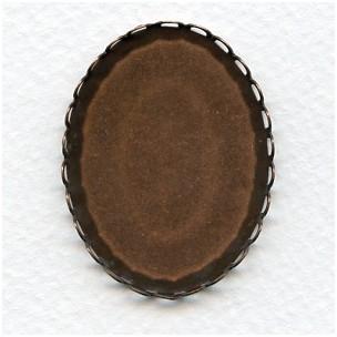 Lace Edge Settings 40x30mm Oxidized Copper (6)