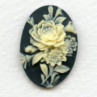 Cameos Ivory on Black Flower Bouquet 25x18mm (3)