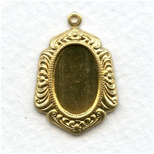 Ornate Floral Edge Pendant Setting 14x10mm Raw Brass (6)