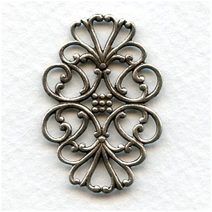 Filigree Flat Oval Connector Oxidized Silver 33mm (6)