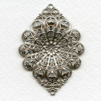 European Filigree Connector 52mm Oxidized Silver (1)