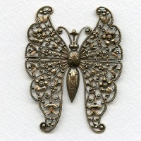 Vintage Rare Huge Oxidized Brass Butterfly Filigree^ (1)