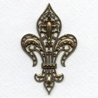 Smaller Exquisite Fleur-de-lys Stamping Oxidized Brass Rare Vintage (1)