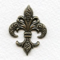 Beautiful Fleur-de-Lis Stampings Oxidized Brass (3)