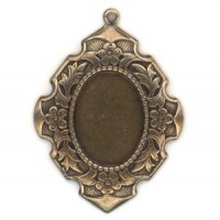 Elegant Details Oxidized Brass Setting Pendant 18x13mm