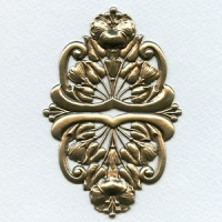 Floral Oval Stamping Oxidized Brass 95mm (1)