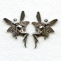 *Nude Fairy Charms Top Loops Right Left Oxidized Silver (6 sets)