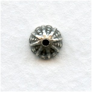 Fluted Bead Caps 7.5mm Oxidized Silver (12)