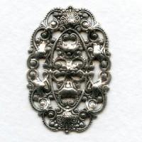 Filigree Ovals 38x26mm Oxidized Silver (6)