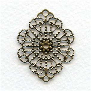 Filigree Connector Bases 37mm Oxidized Brass (6)