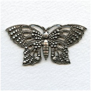 Ornate 57mm Butterfly Stamping Oxidized Silver (1)