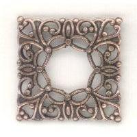 ^Open Center Square Filigrees Oxidized Copper