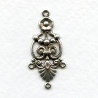 Ornate Three Strand Connectors Oxidized Silver (12)