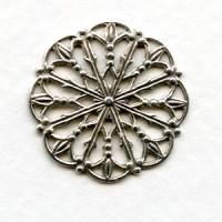 Ornate Round 23mm Filigree Oxidized Silver (6)