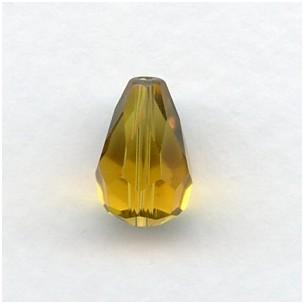^Topaz Machine Cut Glass Tear Drop Beads 13x9mm