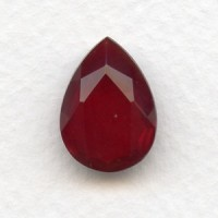 Ruby Pear Shape Glass Jewelry Stone 18x13mm