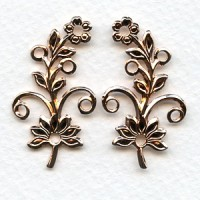 Flowers with Rivet Holes Rose Gold Plated (3 pairs)