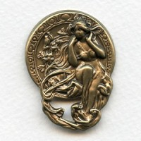 Art Nouveau Maiden Medallion Oxidized Brass (1)