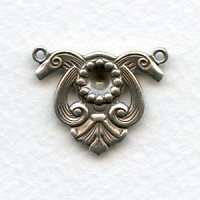 Scroll Detail Connectors with 5mm Settings Oxidized Silver (2)