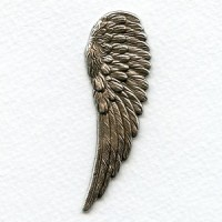 Detailed Large Right Wings Oxidized Silver 65mm (2)