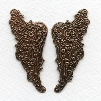 Huge Embossed Angel Wings 54mm Oxidized Copper (1 Set)