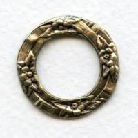 Floral Porthole Settings Oxidized Brass 28.5mm (3)